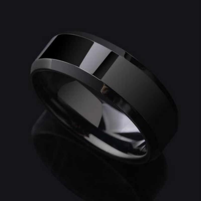 3 اللون نماذج حلقة الرجال التيتانيوم الأسود الذهب المضادة للحساسية السلس بسيط الزفاف الأزواج خواتم المصوغات ل رجل أو امرأة هدية