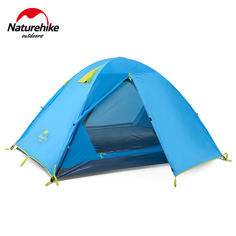 Naturehike 2-3 Person Double Door Waterproof Beach Tent Double Layer NH Outdoor One Bedroom Camping Tent 2 Colors naturehike 3 person camping tent 20d 210t fabric waterproof double layer one bedroom 3 season aluminum rod outdoor camp tent