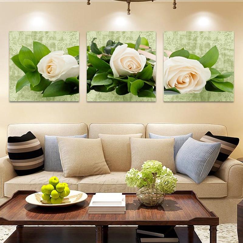 Decorazione Della casa Olio Su Tela Dipinto Moderno White Rose Fiore Quadri  Su Tela per Soggiorno camera Da Letto Canvas Wall Art Immagini HY111