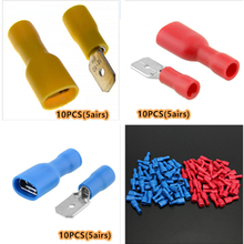 Lowest Price 30PCS Yellow+red+blue Splice Wire Connectors Insulated Male Female Crimp Spade Terminals 18-10AWG