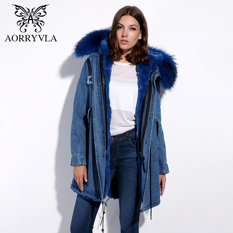 AORRYVLA Real Fur Parka For Women Winter 2017 Natural Raccoon Fur Collar Hooded Long Coat Rabbit Fur liner Casual Winter Jacket new 2017 jott jacket winter women parka long coat large real raccoon fur collar faux rabbit fur liner army green casual outwear
