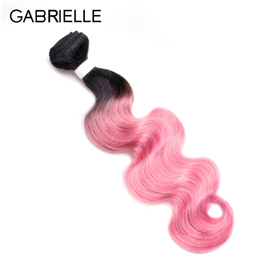 Gabrielle Indian Body Wave Bundles OT Rose Pink One Piece Non Remy Ombre Two Tone Human Hair Weaves 10-18 inch Free Shipping