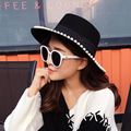Fashion pearl women pure wool hat sweet pearl black wool fedoras retro autumn and winter wide eaves Jazz hat free shipping