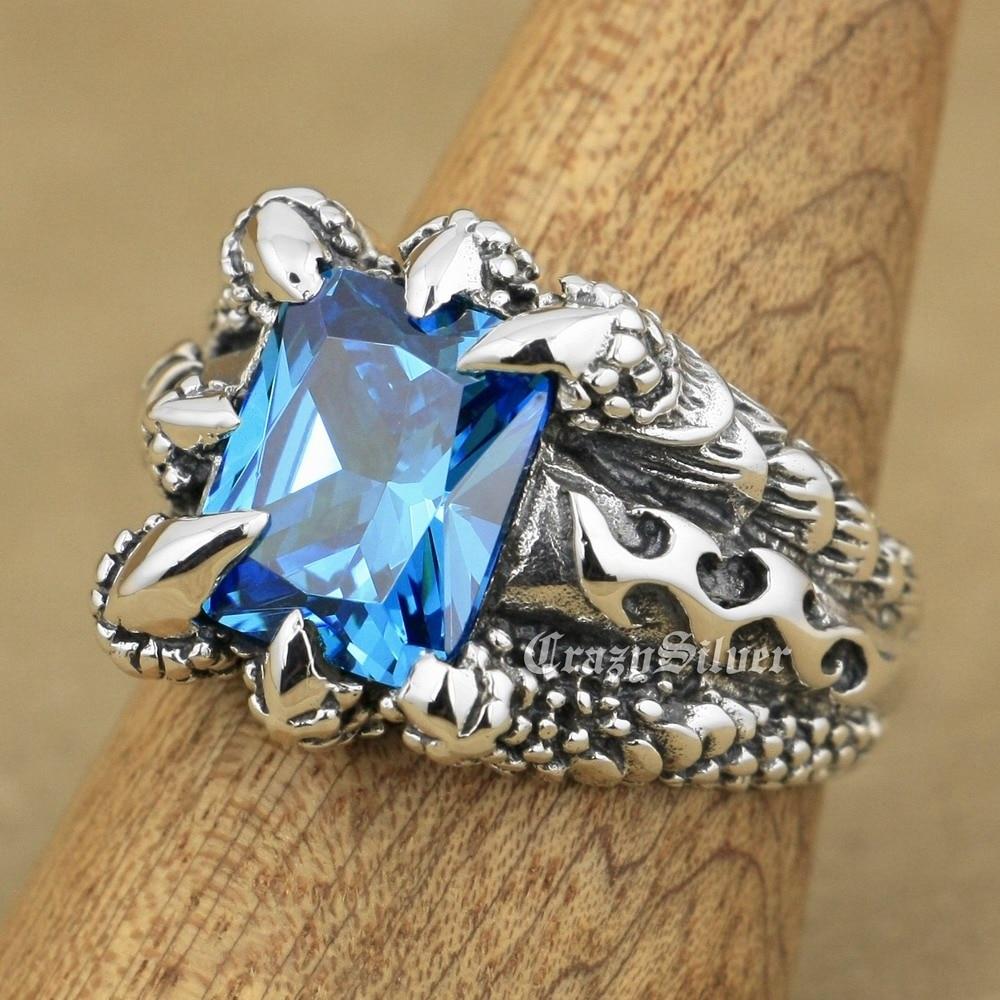 LINSION Huge Blue CZ Stone 925 Sterling Silver Dragon Claw Ring Mens Boys Biker Rock Punk Ring 8T102 USA