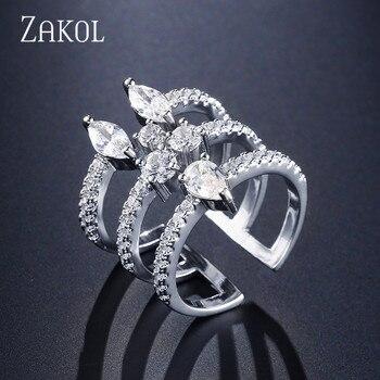 d07c3e52d855 ZAKOL nueva moda plata Color anillo AAA cúbico zirconia piedra anillo  abierto ancho hueco joyería para mujer FSRP245