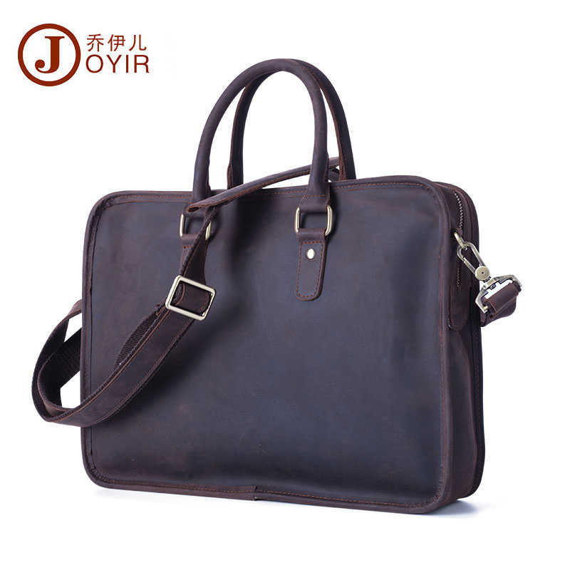 JOYIR Men Casual Genuine Real Leather Briefcase Business Shoulder Bags Male Computer Laptop Handbags Messenger Bags Travel Bag joyir men briefcase real leather handbag crazy horse genuine leather male business retro messenger shoulder bag for men mandbag