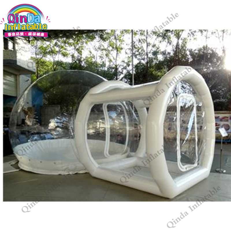 3m diameter inflatable transparebt camping tent,0.9mm pvc inflatable air bubble tent with frame tube entrance  цена и фото