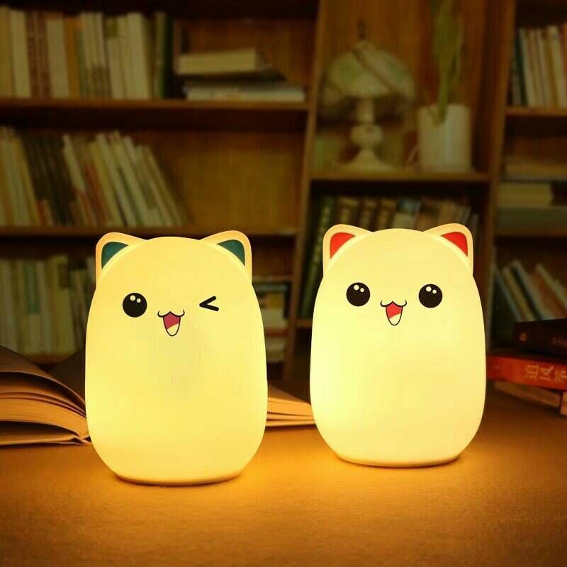 5pcs charge touch sensor cute adorable bear night light colorful silicone rechargeable LED lamp children cute bedside nightlight
