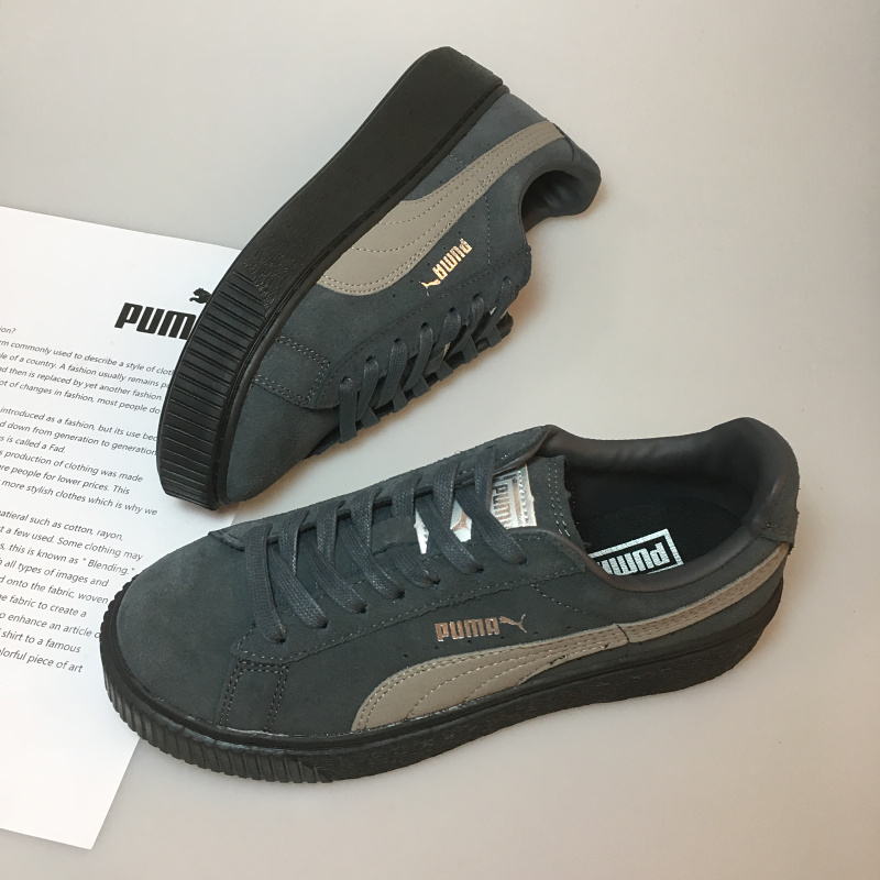 new style 5032e d8a0a Original PUMA x FENTY Suede Cleated Creeper Women's Second Generation  Rihanna Classic Basket Suede Tone Simple Badmin Size 36-39