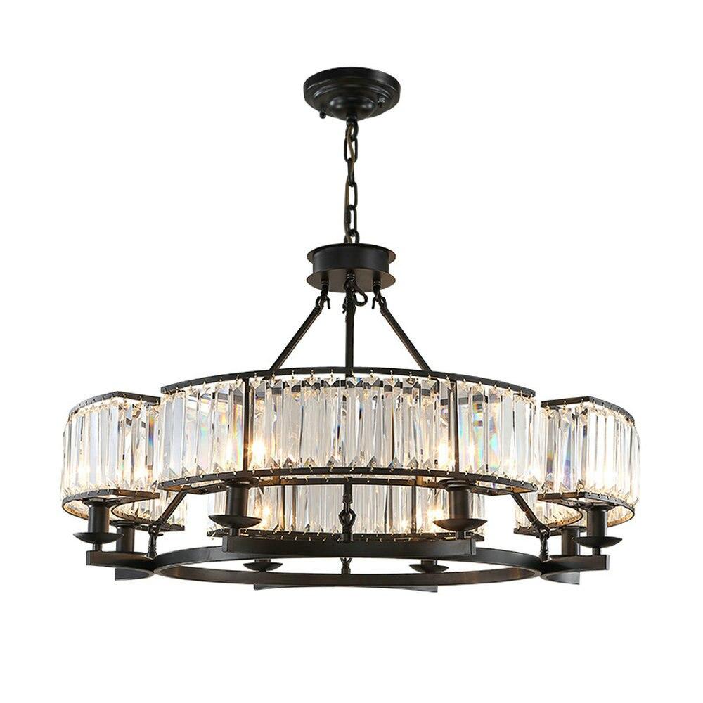 Loft Style Vintage de Cristal Accesorio de Iluminación de Lámpara de Araña de Cristal de Bronce Negro Sombra lámparas de Salón E14 Llevó la lámpara