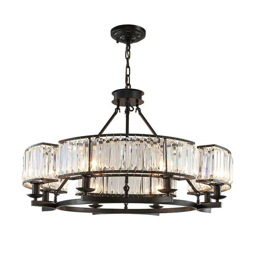 Vintage Loft Style Crystal Lighting Fixture Bronze Black Crystal Chandelier Lamp Shade lamps for Living Room