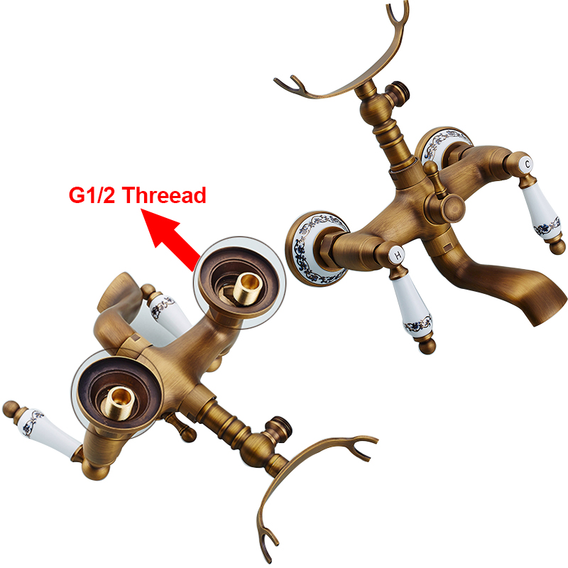 Wall-Mounted-Bath-Shower-Faucet-Antique-Brass-Dual-Handle-Dual-Hole-with-Tub-Filler-Hot-and (1)