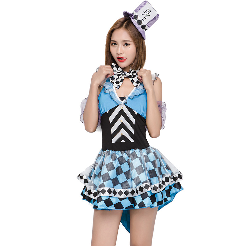 Crazy Alice Game Play Costume Sexy Adult Female Clown Cosplay Halloween Woman Performance Costume Exotic Dress W Hat