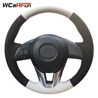 WCaRFun Geunine Leather Black Suede Car Steering Wheel Cover for Mazda CX 5 CX5 Atenza 2014 New Mazda 3 CX 3 2016 Scion iA 2016