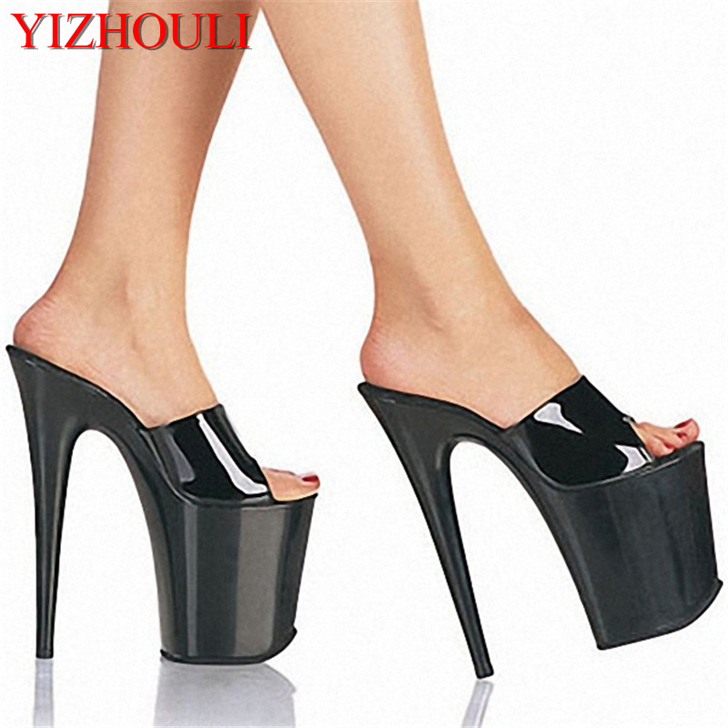High heels 20CM Platform Sandals Peep Toe High Heel Platforms Pole Dance Platform Sandals Slip-On Dance Shoes classic black 20cm open toe sandals super high heel platform pole dance shoes gorgeous punk 8 inch sexy rivet cover heel sandals