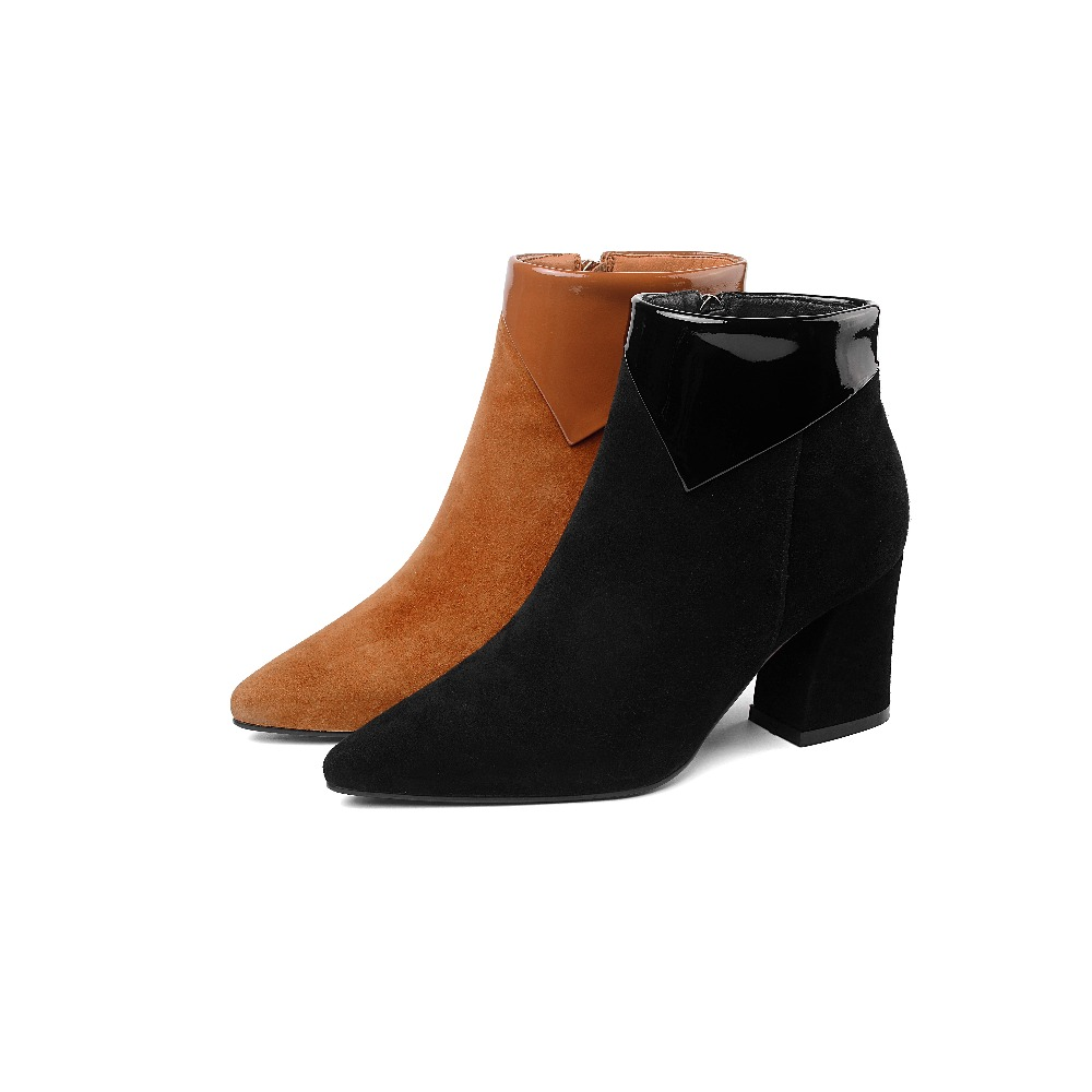 Cheville Color 2018 Haute Pour Cuir Chaussons Arrivée Daim Memunia Hiver Automne Chaussures Bottes Pointu Femme Nouvelle caramel Bout Femmes Talons Noir En qtx1d4Cdw