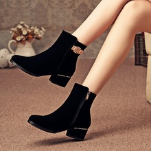 Korean Style Medium Thick Heels Ankle Boots For Women Black Suede Round Toe Fashion Comfortable Booties Shoes With Belt Buckle