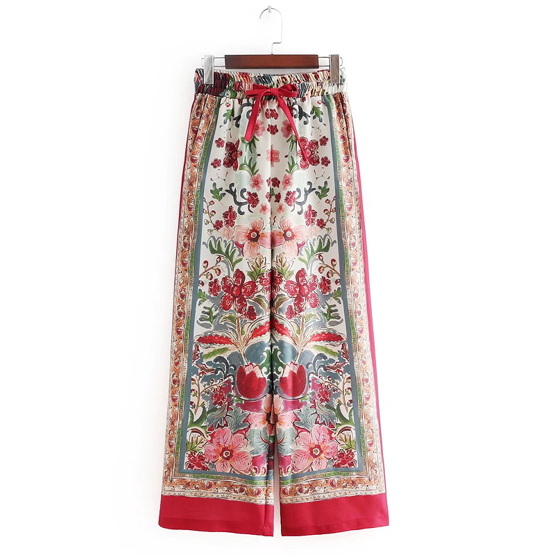 Women Vintage National Red Totem Floral Position Print high waist wide leg pants chic bow tied Elastic Waist long Trousers P072