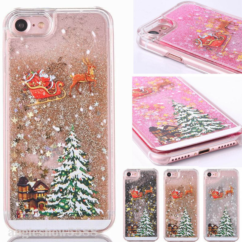 Christmas Tree Dynamic Liquid Glitter Quicksand Phone Iphone 6 S 6S 7 8 Plus Clear Transparent Cover For Iphone 5 5S SE