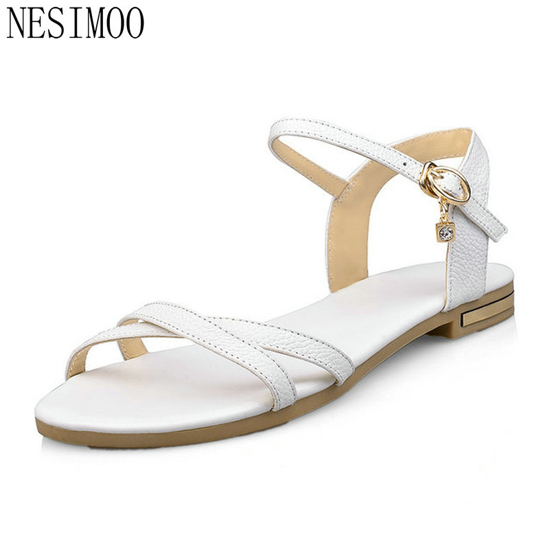 NESIMOO 2018 Women Sandals Women Shoes Slingback Low Heel Ankle Strap  Crystal Buckle Women Beach Wedding Sandals Size 34 43-in Low Heels from  Shoes on ... 830a879025f5