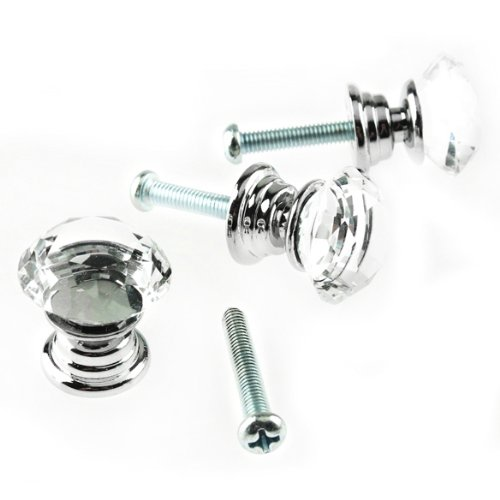 High Quality 10 Pcs 20mm Crystal Glass Clear Cabinet Knob Drawer Pull Handle Kitchen Door Wardrobe