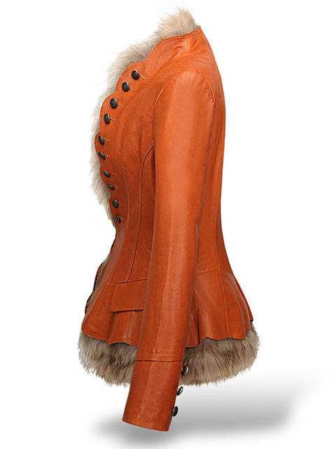 LXUNYI Winter Womens Leather Coat With Button Faux Fur jacket Fashion Short Slim Warm Faux leather jackets Women Orange Coffee 1