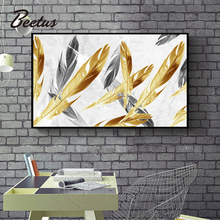 Nordic Style Big Size Wall Pictures Golden Feather Print Posters Abstract Canvas Paintings For Living Room Bedroom Home Decor