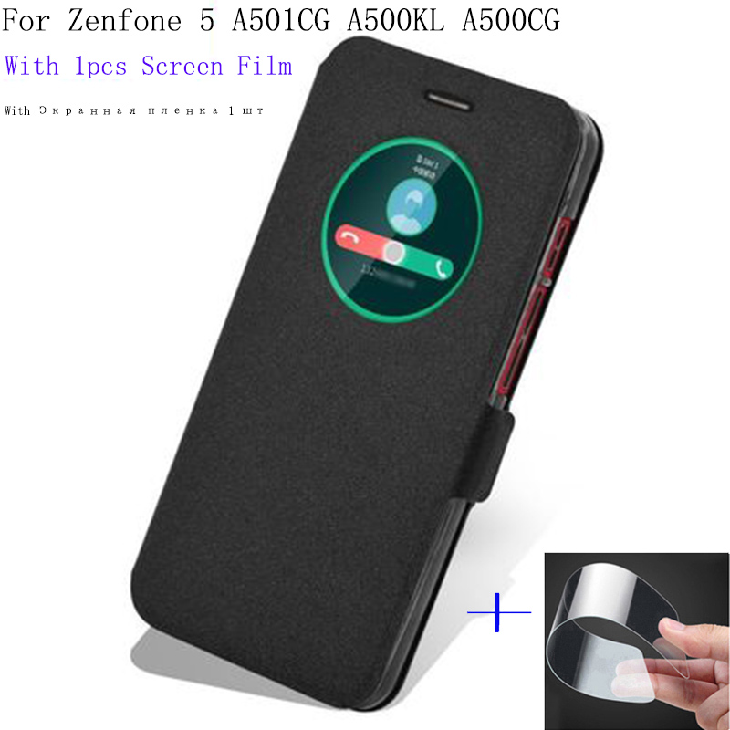 <font><b>5</b></font>.0inch Smart View Window Shell For <font><b>ASUS</b></font> <font><b>Zenfone</b></font> <font><b>5</b></font> <font><b>A501CG</b></font> A500KL <font><b>A500CG</b></font> Case Cover flip Leather Zenfone5 phone cases back cover image
