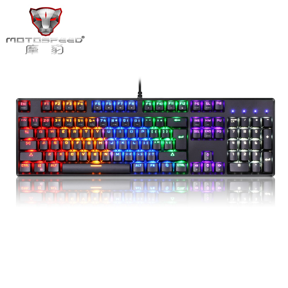 New Motospeed CK96 Gaming Mechanical Keyboard RGB Backlight 104 Keys USB 2.0 Anti-ghosting Keys Blue/Black Switch black keys