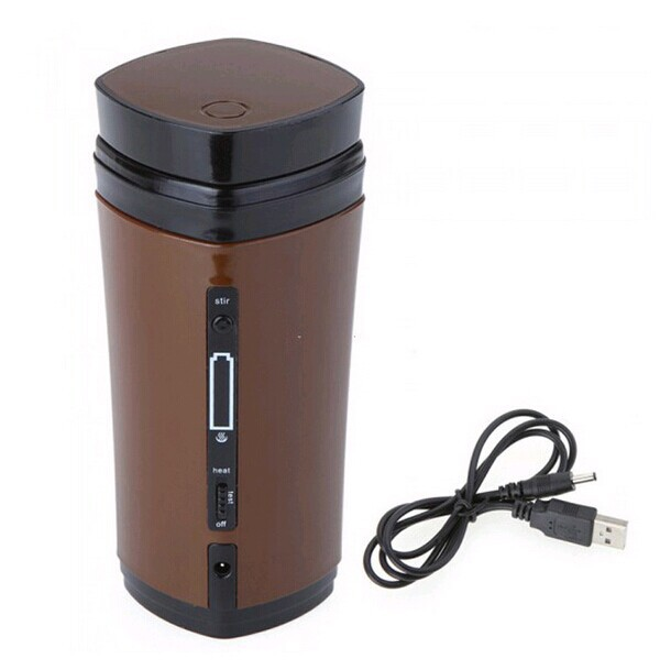 New Rechargeable USB Electric Heating Automatic Stirring Insulated Coffee Milk Tea Travel Mug Thermos Cup & Lid Warmer