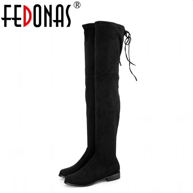 000d527ba13 FEDONAS New Women Faux Suede Thigh High Boots Women Flat Comfort Sexy  Slouchy Over the Knee Boots Ladies Spring Autumn Shoes
