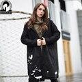 Европа большой ярдов Мода Зима женщины толстый куртка с капюшоном с длинным пальто куртки печати Женщин Куртки Пальто 95% хлопок Плюс размер