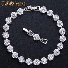 CWWZircons классический серебристый цвет круглый блестящий кубический цирконий Свадебные вечерние теннисные браслеты ювелирные изделия для женщин CB075
