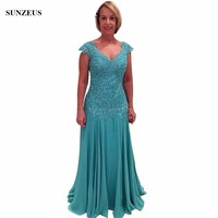 Chiffon A Line Dress Mother Elegant Turquoise Lace Evening Party Dress Cap Sleeve Full Length Mother of the Bride Dresses S628