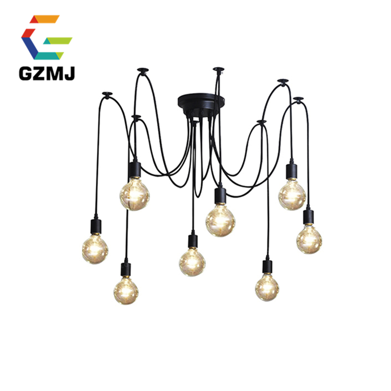 Mordern Nordic Retro Pendant Lights Vintage Loft Antique Adjustable DIY E27 Art Spider Lighting Fixture American Pendant Lamps mordern nordic retro edison bulb light chandelier vintage loft antique adjustable diy e27 art spider ceiling lamp fixture lights