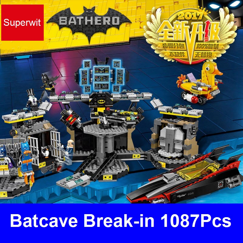 2017 Superwit New Lepin 07052 Batman Movie Bricks Batcave Break-in Sets Building Blocks Compatible 70909 Toys For Children Gifts superwit 72pcs big size city diy creative building blocks brick compatible with duplo sets lepin educational toys children gifts