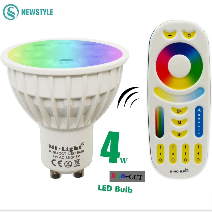 4W Mi Light Led Bulb 2.4G Wireless Dimmable GU10 RGB+CCT(2700-6500K) Led Spotlight Smart Lamp Lighting AC86-265V+ Remote led bulb 12w mi light e27 dimmable led bulb light rgb warm white white rgb cct spotlight indoor decoration ac85 265v