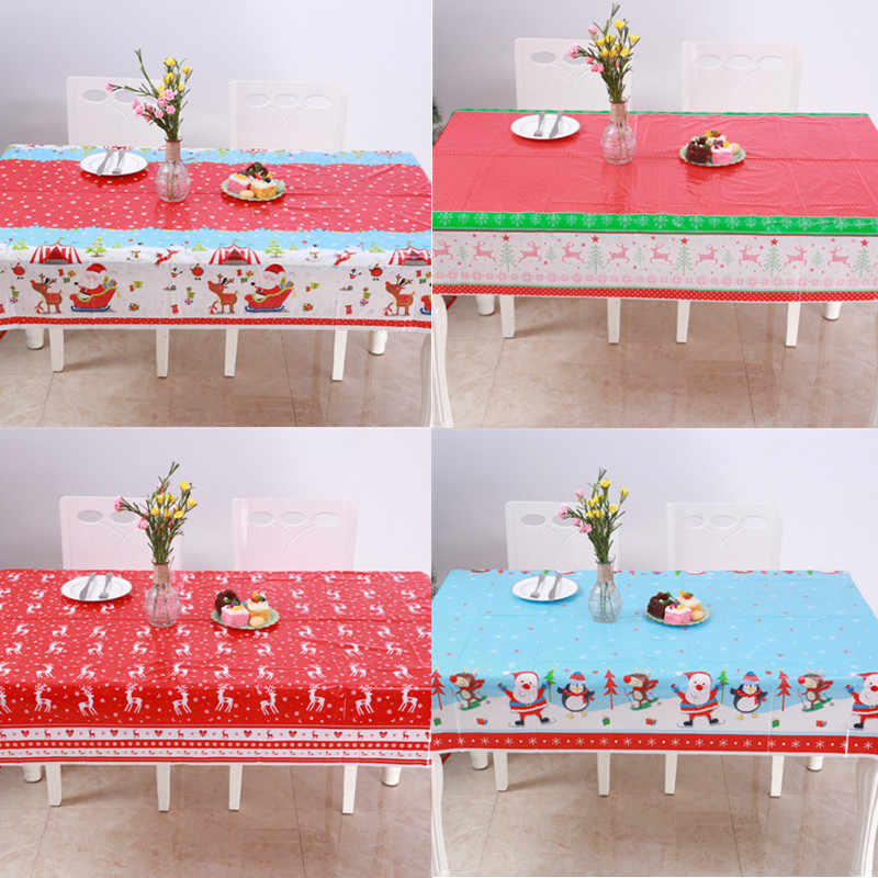 Christmas Tablecloths.2019 Xmas Disposable Pvc Christmas Tablecloths Santa Skiing Red Elk Table Cover Christmas Decorations For Home New Year Decor
