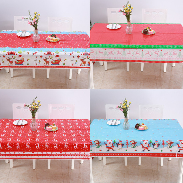 2019 Xmas Disposable Pvc Christmas Tablecloths Santa Skiing Red Elk Table Cover Decorations For Home New Year Decor