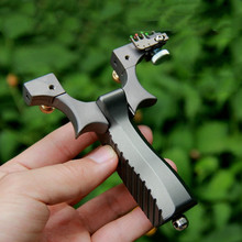 Precise TC21 Titanium Alloy Slingshot Catapult Outdoor Hunting Shooting Sling shot with Powerful Flat Rubber Band
