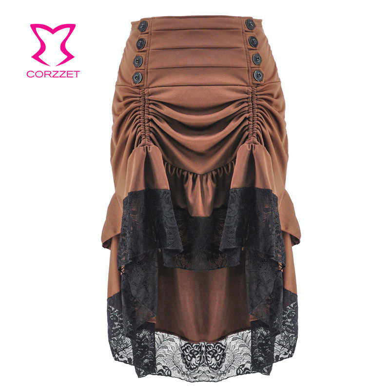 Brown& Black Lace Ruffles Long Vintage Gothic Skirts Womens Plus Size Sexy Skirt Steampunk Clothing Victorian Corset Accessories