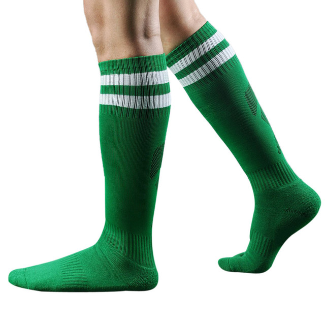 2017 Barreled football socks Long towel bottom Striped knee stockings Men Adult Soccer sock Absorbent sox non-slip movement sox
