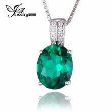 Jewelrypalace Oval Created Nano Russian Emerald Pendant 925 Sterling Silver Pendant Jewellery for Girls Not Embrace the Chain