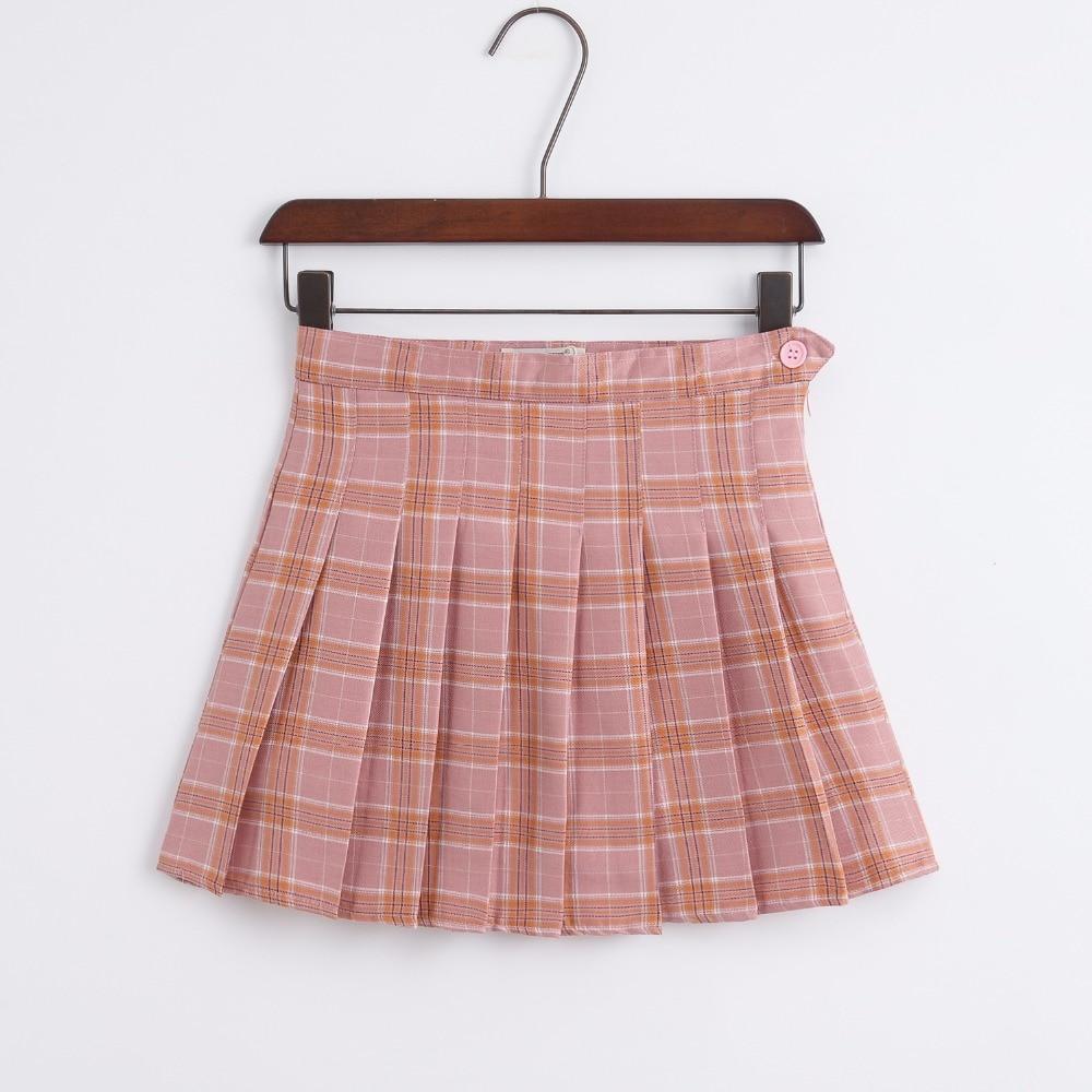 Coreano de la nueva cintura alta Falda corta Universidad viento una palabra celosía falda mujeres