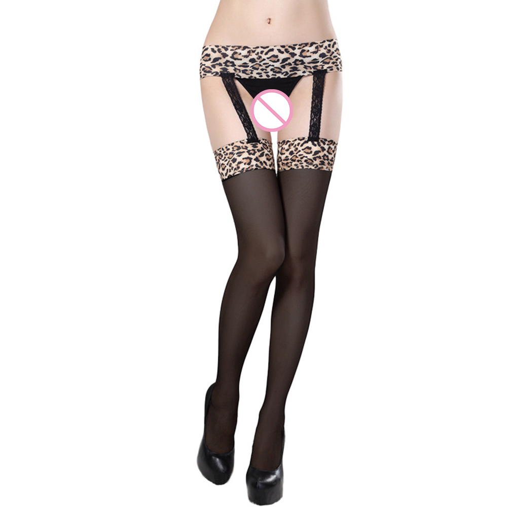 Sexy Leopard Print Pantyhose Stockings For Women Open Crotch Crotchless Tight Garter Stockings Female Exotic Lingerie Stockings