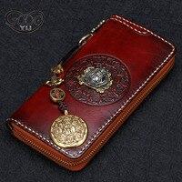 Original New Handmade Wallet Head Layer Of Leather Zipper Bag Retro National Wind Buddha Head Gossip
