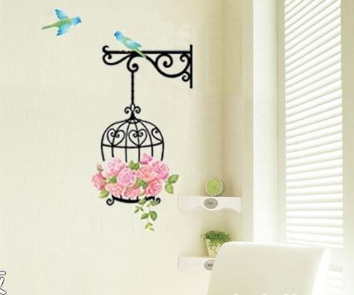 Buy cartoon bird and birdcage wall for Bird wallpaper home decor