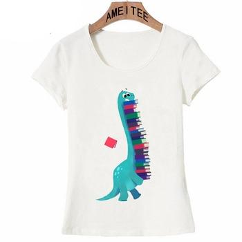 5abb3119b518e6 A collection of dinosaur books print T-Shirt Summer Fashion Women t-shirt  Woman ...