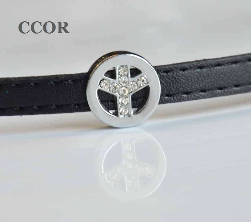 CCOR, 50PCS 8MM Rhinestone Sign Of Peace Slide Charms DIY Accessory Fit 8mm Wristband Pet Dog Collars Strips Keychain, CD0186