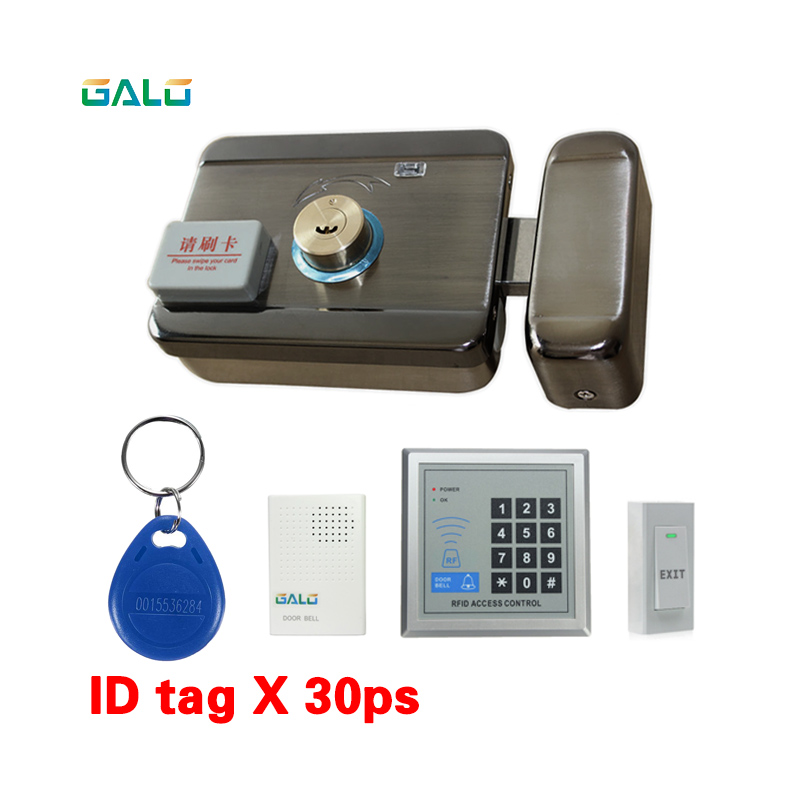 Family Full kit set Security Electronic 125khz RFID Gate Door Lock Access Control System with doorbell exit switch keyboard waterproof security door lock system kit set with electronic lock for wooden door rfid keychains touch metal access controller